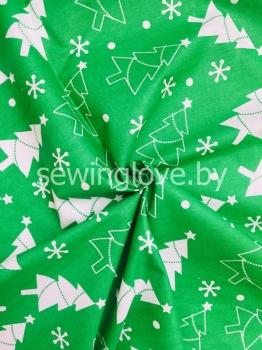 Ткань зеленая с елочками