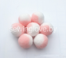 Помпон розово-белый