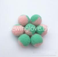 Помпон розово-зеленый