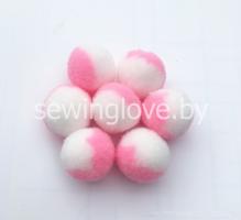 Помпон бело-розовый