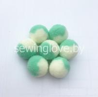 Помпон бело-зеленый