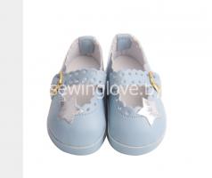 Туфельки голубые на застежке 6,5 см