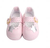 Туфельки розовые на застежке 6,5 см