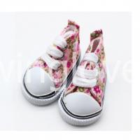 Кеды розовые в цветочек на шнурках 5см