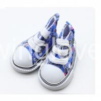 Кеды голубые в цветочек на шнуровке 5см