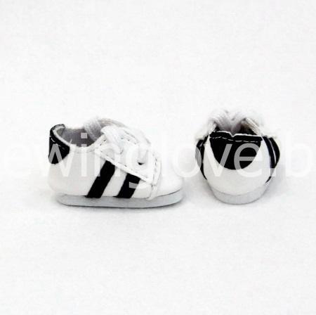Кроссовки белые  с черной полоской 4,5см