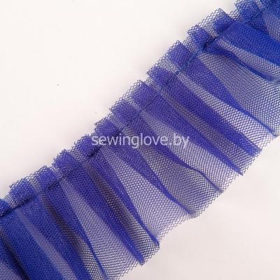 Рюши из двойного  фатина 5см -синий