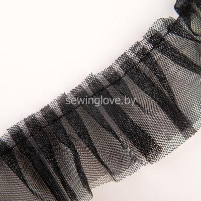 Рюши из двойного  фатина 5см -черный