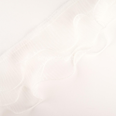 Рюши гофре из тройного фатина 12см - белый