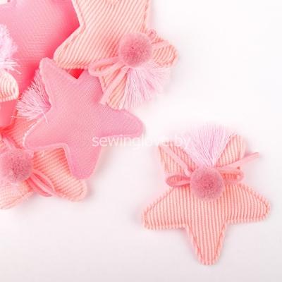 Патч звездочка с помпоном розовая