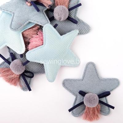 Патч звездочка с помпоном серо-голубая