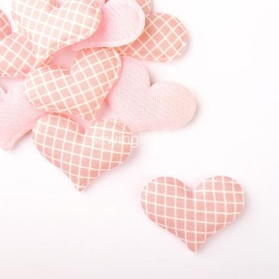Патч сердце в клеточку розовое 3,5 см