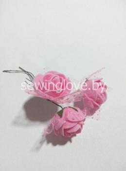 Розочка с фатином ярко розовые