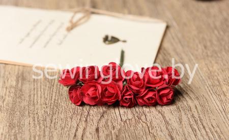 Розы мини бумажные красные