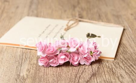 Розы мини бумажные розовые