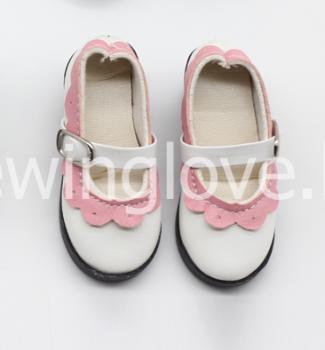 Туфли с каблуком бело-розовые